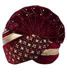 INMONARCH Mens Stone and Zari Work Turban Pagari Safa Groom Hats TU1080 23-Inch Maroon