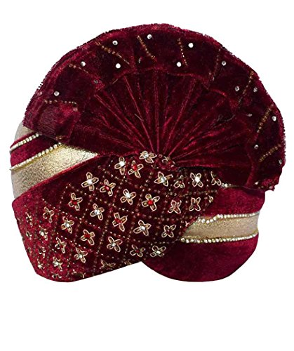 INMONARCH Mens Stone and Zari Work Turban Pagari Safa Groom Hats TU1080 23-Inch Maroon by INMONARCH