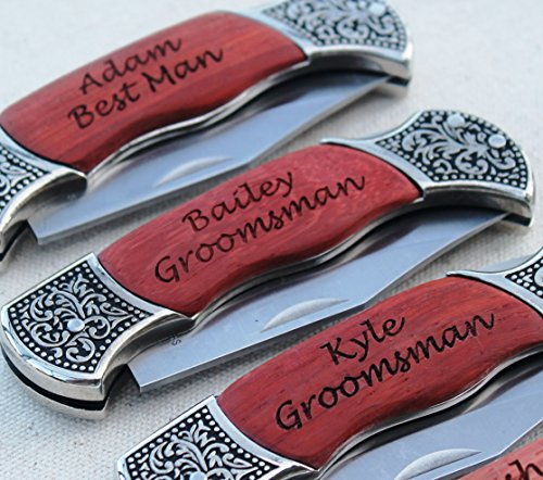 - Customized Rosewood Handle Pocket Folding Knife with 2 Lines of Engraving - Wedding Groomsmen Gift - Personalized Monogrammed and Engraved for Free