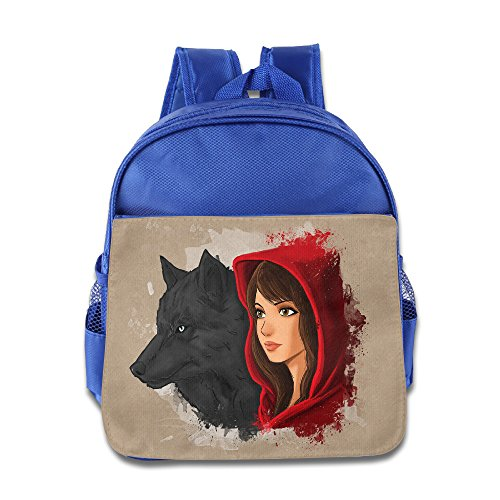 XJBD Custom Funny Red And Wolf Kids Schoolbag For 1-6 Years Old RoyalBlue