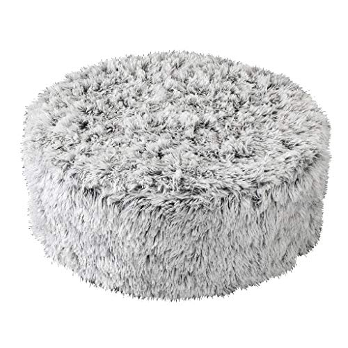 Round Stool Mini - Time Concept Casual Rich Eco Fur Round Foot Stool - Ash Gray - MDF Natural Pine Wood, Home Enhancement