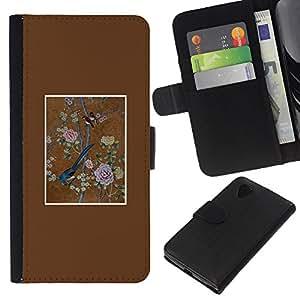 KLONGSHOP // Tirón de la caja Cartera de cuero con ranuras para tarjetas - Pájaro del arte floral Pintura del vintage - LG Nexus 5 D820 D821 //