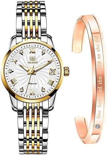 Women Watch Mechanical Automatic Self Winding Gold Luxury Watches for Womens Stainless Steel Luminous Waterproof Ladies Bracelet Wrist Watch Gift Set