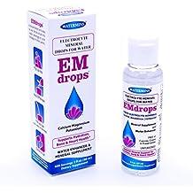 Electrolyte Mineral Water Drops - EMDROPS - upto 1,200 Servings! For Hydration, Leg Cramps, Bone & Heart Health. Calcium Magnesium Potassium ESSENTIAL MINERALS (No Trace Minerals) 2 fl.oz Concentrate