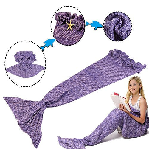 Feiuruhf Soft Mermaid Tail Blanket Handmade Living Room Sleeping Bag For Kids (purple)