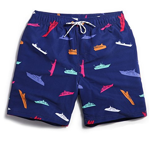 Mens Ships Printed Swim Trunks Polyester Quick Dry Beach Shorts Colorful Size Medium