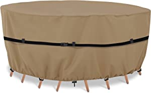 ASUM Patio Furniture Covers, Waterproof Round Patio Table Covers, 60 x 23 Inches, 420D Upgraded Spun Polyester , Heavy Duty and UV Resistant Outdoor Furniture Cover.