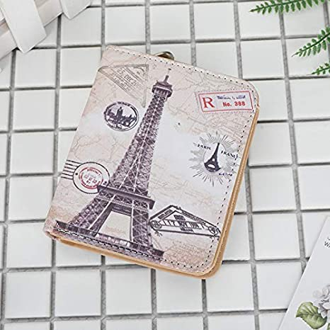Color : Brown Women Purse Color : Brown LanDream New Lady Eiffel Tower Long Zipper Anime Cartoon Cute Retro Postmark Wallet Wallet