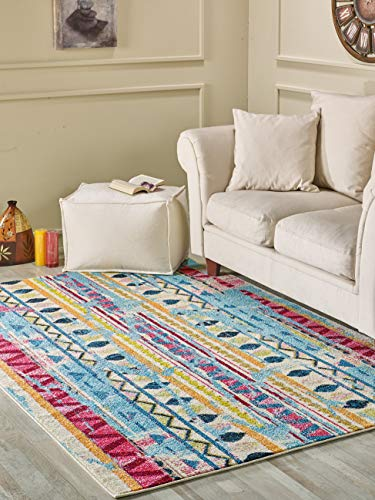 Golden Rugs Moroccan Tribal Area Rug 4x6 Multicolor Cream Diamond Nizhoni Blue Hand Touch Vintage Abstract Belini Persian Texture for Bedroom Living/Dining Room 7477 Melody Collection (4x6, Cream)