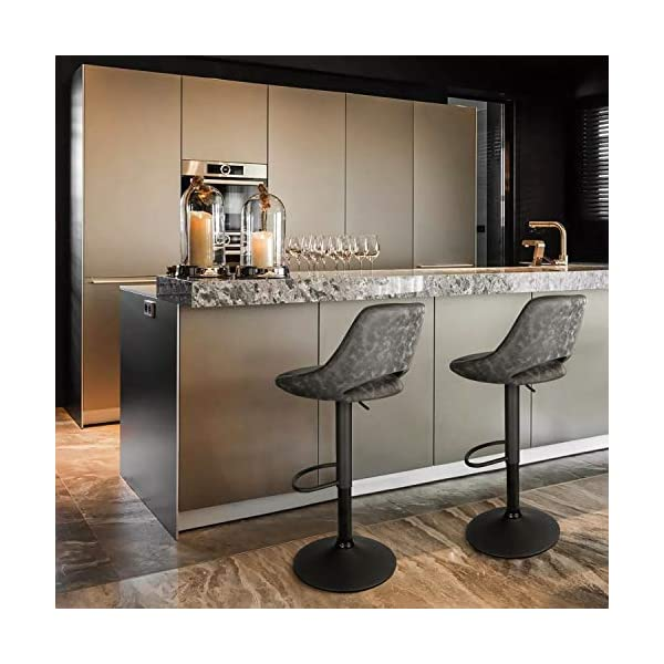 INTEY Tabouret de Bar en Similicuir Lot de 2, Chaise de Bar avec Repose-Pieds, Réglable en Hauteur et Rotative à 360…