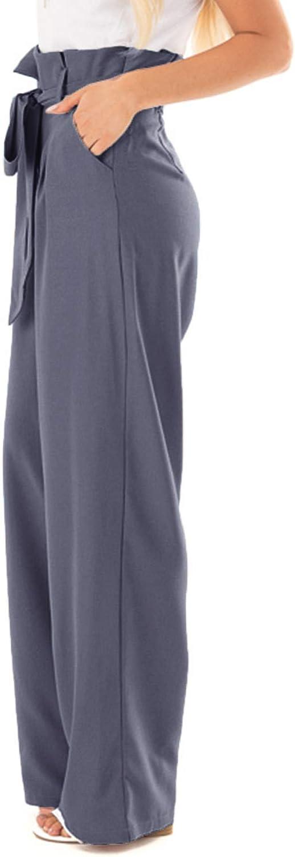 CNFIO Pantalones Mujer Casuales de Cintura Alta de Mujeres Pantal/ón Elegantes con cintur/ón de Cintura Alta Decorado con Lazo