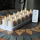 Set of 12 LED Night Rechargeable Flameless Tea Light Candle with Diffused Votives - White Base