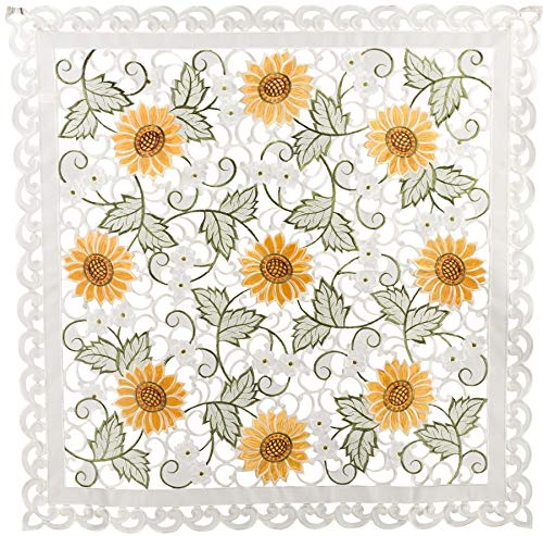 Embroidered Table Topper Doily Table Centerpiece Small Tablecloth Open Weave Cut Work Sunflower and White Daisy on Ivory Approx 33 Inch Square