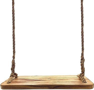 Aoneky Columpio de Madera para Adultos Niños - Columpio Colgante Infantil para Jardín Exterior, Columpio con Cuerda de 3M, Asiento de Madera Paulownia 60×20 cm, Carga de 160 kg (Paulonia): Amazon.es: Jardín