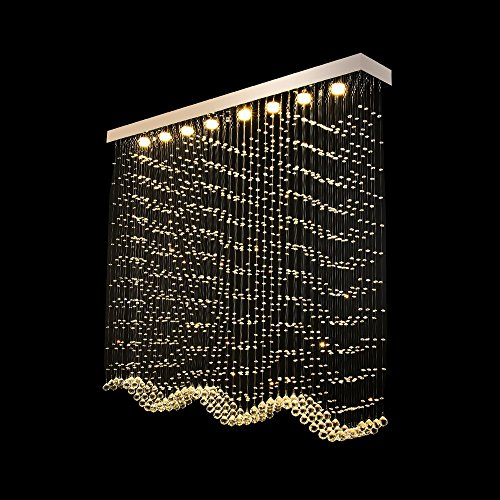 (YAN JUNau Led Rectangle Crystal Light Lamp Bead Curtain Crystal Chandeliers Living Room Lights A+ (Size : Long 150wide 20cmhigh 1.3 meters))