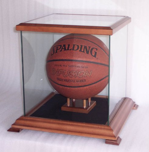 Glass Display Case for Basketball, Soccer Ball, Helmets and more, Walnut by sfDisplay