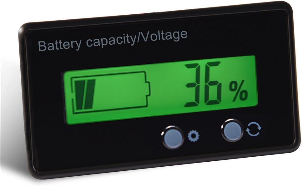 anwendbar f/ür Batterie Diyeeni Spannungsmesser LCD Display Gr/ün Beleuchtetes Universalpanel Digitalanzeige Spannungsmessger/ät Kapazit/ät Voltmeter-Monitor oder Batterieausr/üstung.