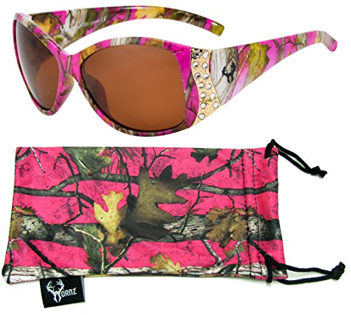Hornz Hot Pink Camouflage Polarized Sunglasses for Women Rhinestone Accents & Free Matching Microfiber Pouch – Hot Pink Camo Frame – Amber - Realtree Camo Sunglasses Pink