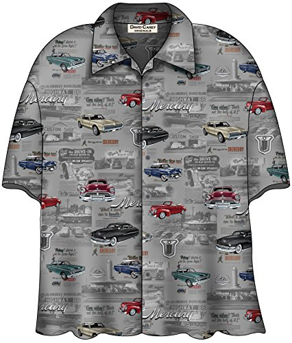 David Carey Mercury Classic Cars Cougar Comet Montclair Hawaiian Camp Shirt ()