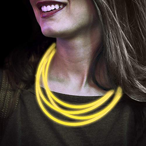 Lumistick Premium 22 Inch Glow Stick Necklaces with Connectors | Kid Safe Non-Toxic Glowstick Necklaces Party Pack | Available in Bulk and Color Varieties | Lasts 12 Hours (Yellow, 50) (Necklaces Glow Yellow Stick Glowing)