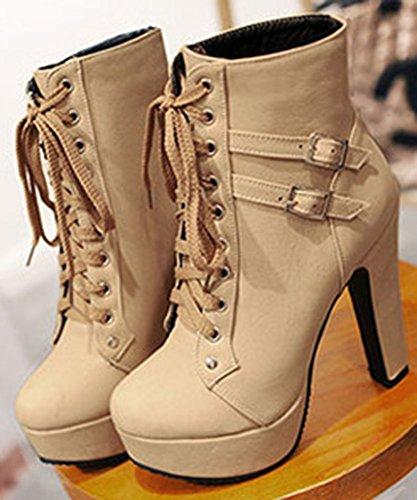Easemax Women's Sweet Round Toe Block High Heel Lace Up Platform Ankle High Booties Beige HSF9KtT5s