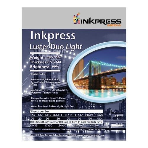 Inkpress Duo Luster - Inkpress Luster Duo, Double Sided Inkjet Paper, 99% Bright, 280 gsm, 9.5 mil., 11x14