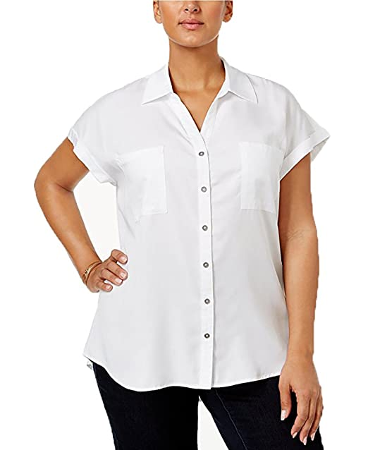 d69ea48a Style & Co. Plus Size Short-Sleeve Denim Shir (0X, Bright White) at ...