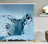 Ambesonne Waterfall Decor Shower Curtain, Frozen Waterfall Heavenly Landscape View with Mountains Covered with Snow Photo, Fabric Bathroom Decor Set with Hooks, 75 inches Long, Petrol Blue
