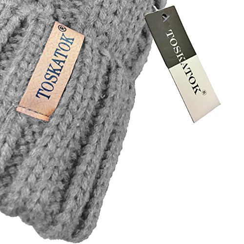 1a07c10798a ... Cosy Fleece Toskatok With Chunky And Knit Fur Detachable Pompom Faux  Cable Soft Hat Ladies Liner