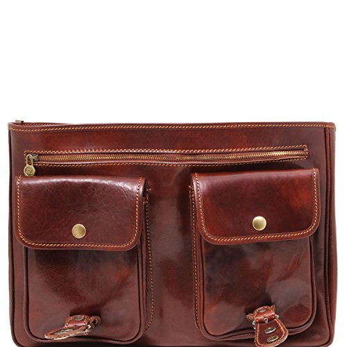 Leather compartments Brown Tuscany Leather Dark Dark 2 Modena briefcase Brown dnPHw6PCa