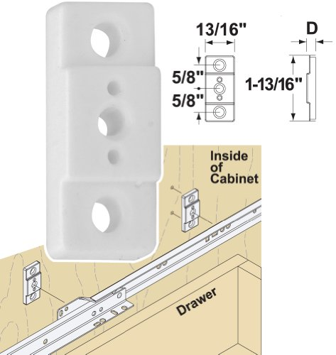 "Platte River 136052, Hardware, Drawer Slides, Mounting Hardware, 1/4"" Plastic Slide Spacer, 20-pack"