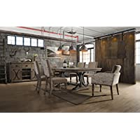 Roundhill Furniture T428-C428-C428-C428A Birmingham Nailhead 7-Piece Finish Butterfly Leaf Table with Nail Head Arm Chairs Dining Set, Driftwood