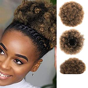 Afro Hair Bun Ponytails Extensions Natural Synthetic Hair Curly Donut Clip In Bun Hairpiece For Black Women 1BT27