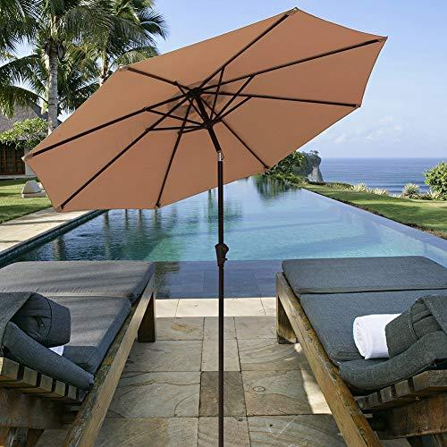 (PATIORAMA 9 Feet Aluminum Patio Umbrella Outdoor Market Umbrella with Crank, 8 Steel Ribs,Polyester Canopy,)