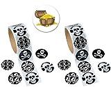 200 Pirate Skull and Crossbones Stickers plus a Pirate Treasure pin back Button.