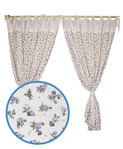 Provence Cotton Curtains in French Country Style for Kitchen, Bedroom, Living Room. 67'' X 55'', Set of 2 Panels with 2 Tiebacks, Lilac Rose