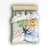 Family Decor Colorful Watercolor Tree of Life Print Home Comforter Bedding Sets Duvet Cover Sets Bedspread for Adult Kids,Flat Sheet, Shams Set 4Pieces,4 Pcs Queen Size for Kids Teenage Teens