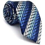 Shlax&Wing Designer Ripple Blue Ties Silk Mens Necktie Fashion Skinny Extra Long