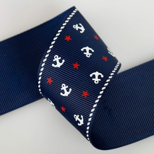(Neotrims Nautical Anchor Stars Grosgrain Petersham Ribbon 16, 25, 38mm by meter. Anchor and Stars Print Grosgrain Ruban Trim; Beautifully Soft Polyester Petersham Ribbon in 3 Widths, 16mm, 25mm and 38mm, Sold as a Set Of all 3 sizes, 3mts of each Size total 9mts in a Set. Unique! Trim, Decorate, Accessorize.)