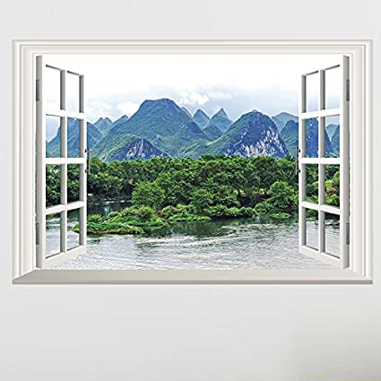 Amazon.com: Mural ZOZOSO Walls, Green Windows, Living Rooms ...