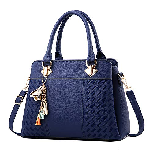 Clearance Sale! ZOMUSAR Fashion Women Leather Splice Handbag Shoulder Bag Crossbody Messenger Bag Tote Bag (Blue) (Handbags)