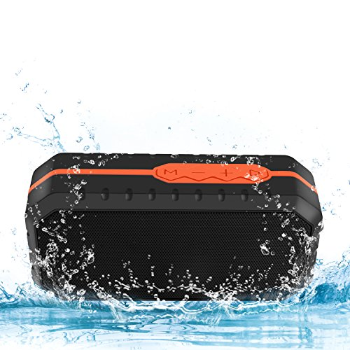 Ifecco Portable Bluetooth Speaker, Wireless Waterproof Shockproof Speaker with Build-in Microphone for Indoor and Outdoor (Orange + Black)