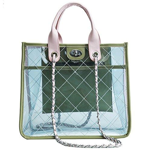 PVC Purse Women Collision Cross Clear Tote capacity 2 Dunland Color Piece Handbag Bag Body High Bag Yellow wSqdXWZxz