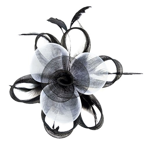 Cocktail White Top Hat Headband (Fascinator Hair Clip Women Flower Feather Headband Pillbox Hat Tea Party (A Black White))