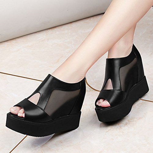 Avec L'augmentation La Plates Printemps Talons Du Nouveau Chaussures Black De Gaze Dans un Poisson Khskx Des Bouche 41YFFq
