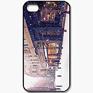 Protective Case Back Cover For iPhone 4 4S Case Winter Europe Street Snow Stores Black