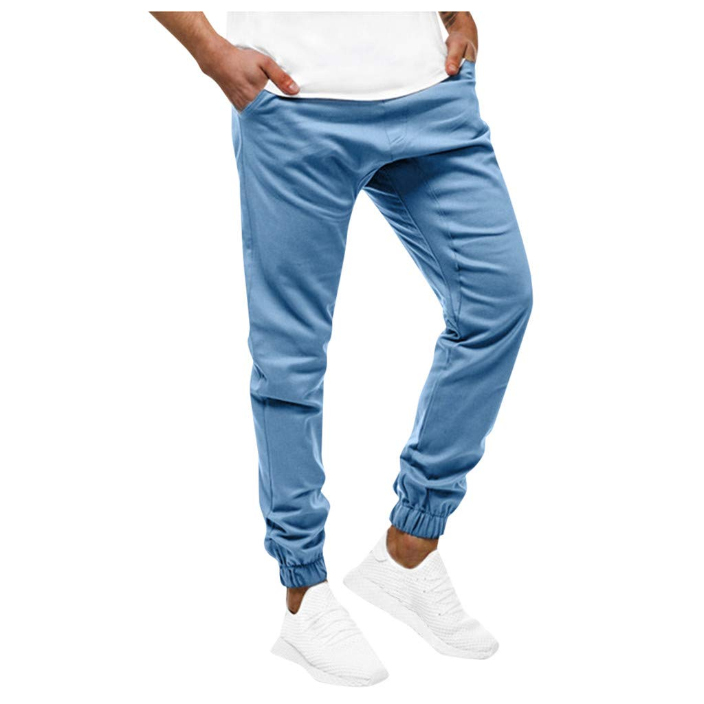 LOVOZO Men's Sports Pants Gym Sport Jogger Pants Bodybuilding Workout Running Jogger Tapered Sweatpants Sky Blue by LOVOZO