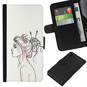 For Sony Xperia Z1 L39 Case , Pencil Sketch Drawing Art Fashion - la tarjeta de Crédito Slots PU Funda de cuero Monedero caso cubierta de piel