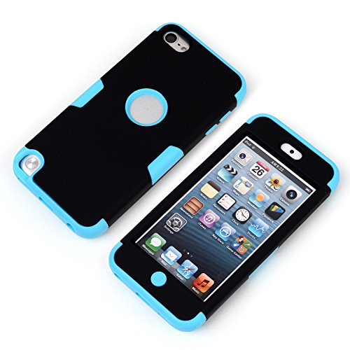 iPod touch 5th Case, Touch 5 case, Magicsky iTouch 5th Case 3 in 1 Combo Tuff Hybrid Shockproof Case Cover Protector for Apple iPod Touch 5 5th, 1 Pack(Sky Blue/Black)
