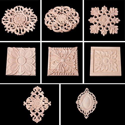 Neuf 1x Bois Sculpté Applique Cadre Onlay Meuble Non-Peinte Multi-Patterns